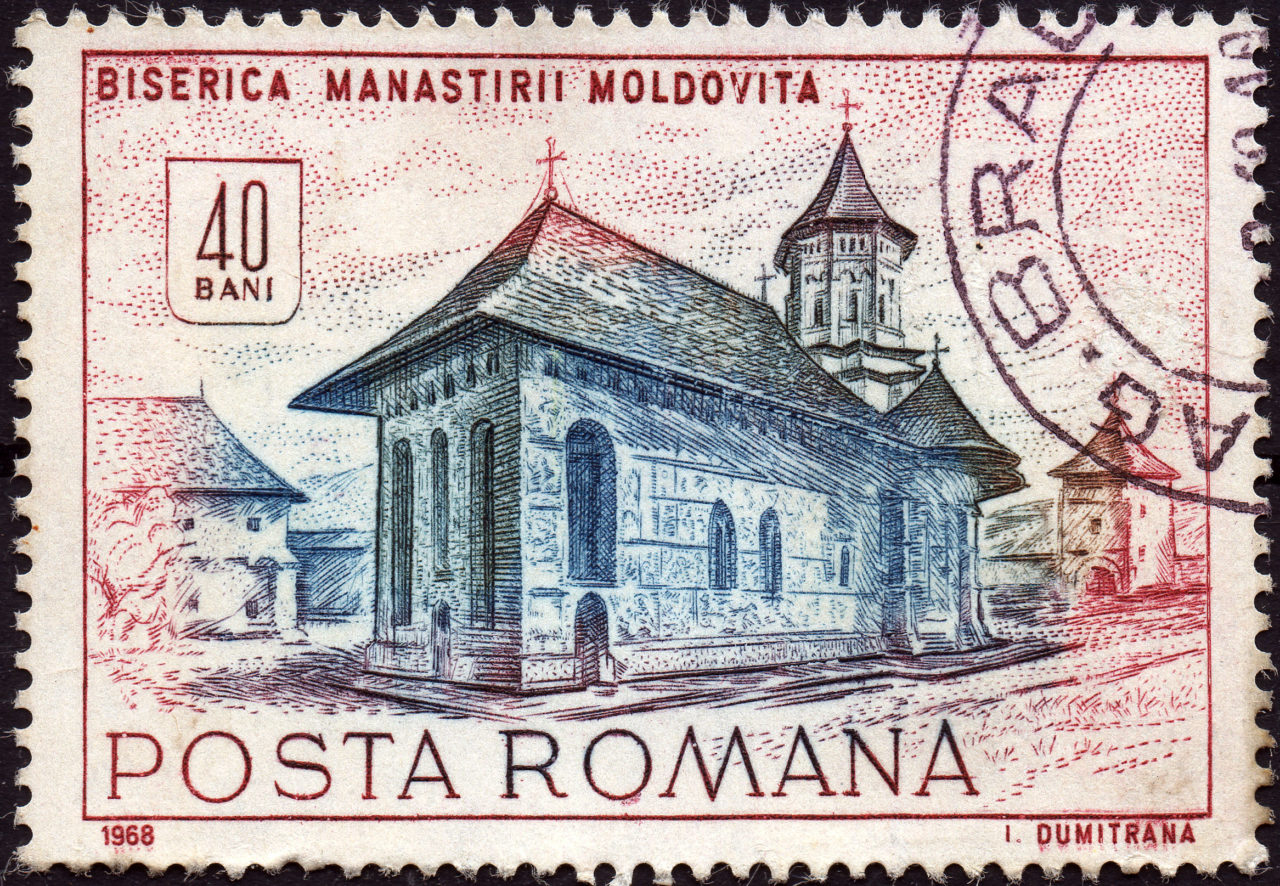 Brief Nach Hamburg Briefmarke : Rumänien kloster moldovita historische gebäude